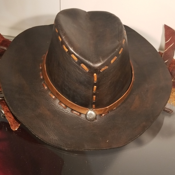 Other - Black leather cowboy hat with brown trim